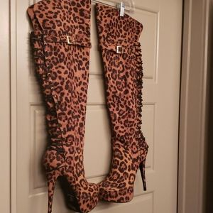 Leopard over the knee boots
